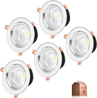Foco Downlight LED 5W (Pack 5) Aro Blanco 4000k-4500k Blanco ...
