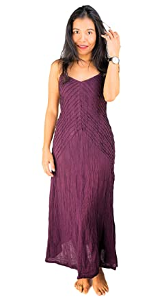 ThaiOnline4u Maxi Long Violet Purple Dress Cotton Petite Sundress Spaghetti Straps Full Length Solid Color