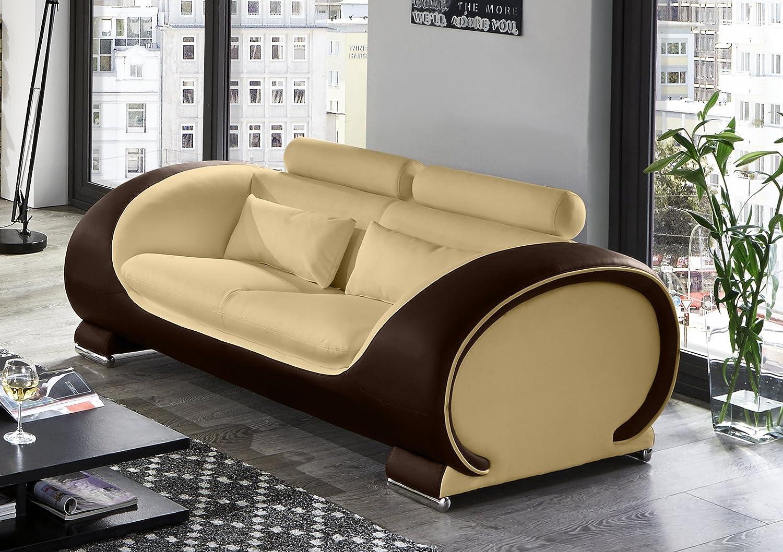 SAM® Design Sofa Vigo 2-Sitzer in creme-braun mit bequemen verstellbaren Kopfstützen, futuristisches Design, angenehmer Sitzkomfort, pflegeleichte Oberfläche, Lieferung montiert per Spedition