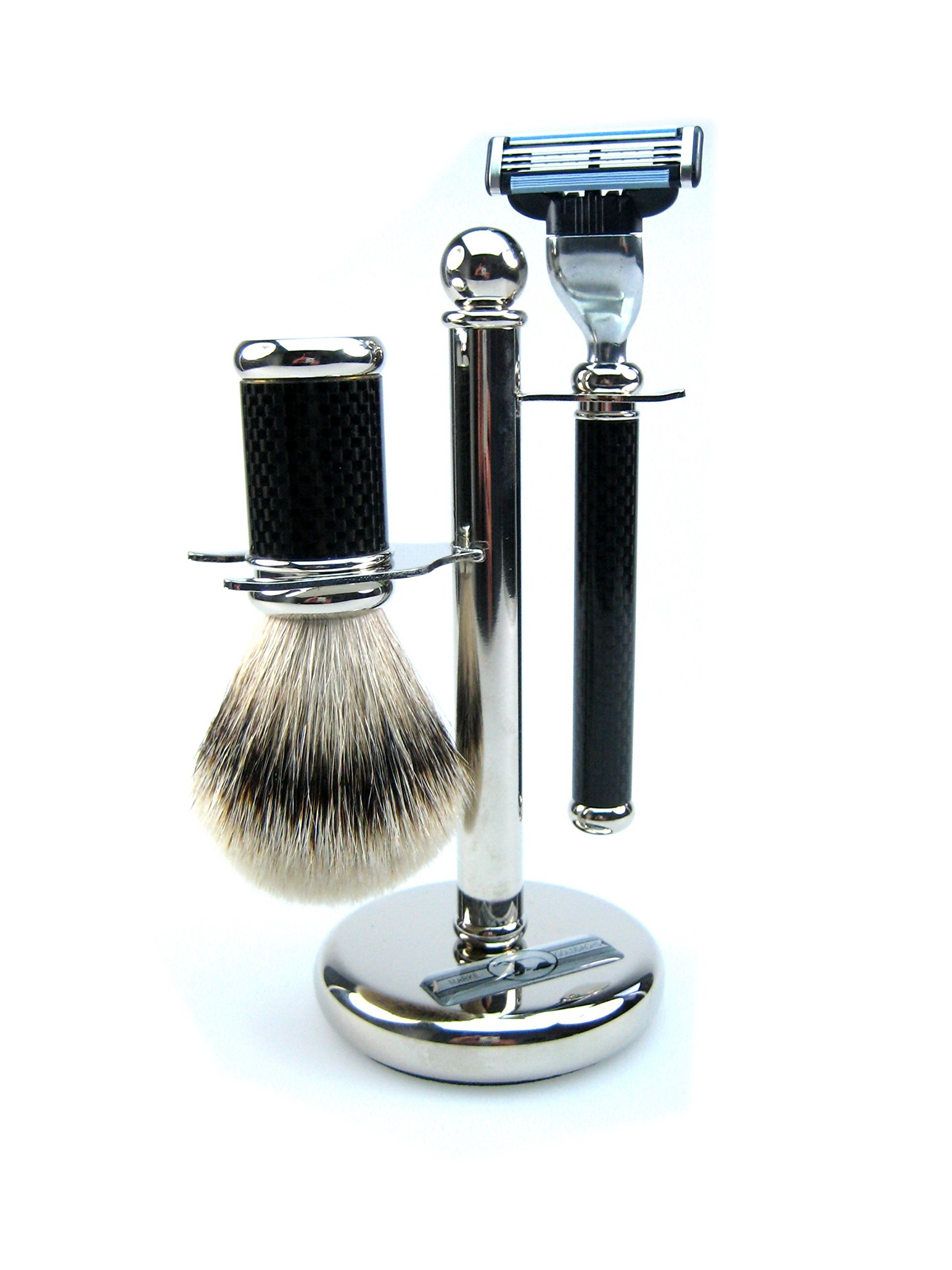 Golddachs Germany Shaving Set, Mach3 Handle, Finest Badger Brush, Carbon Optic, Stand, Made In Germany, 3 Piece