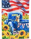 Evergreen Patriotic Truck and Dog Suede House Flag, 29 x 43 inches