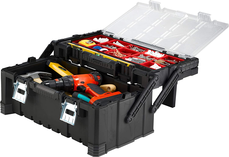 Keter 17187311 - Caja de herramientas (plástico), color negro y rojo: Amazon.es: Bricolaje y herramientas