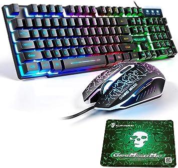 T6 UK Disposición Juegos de teclado y mouse para juegos Retroiluminación retroiluminada Rainbow Usb Gaming Keyboard + 2400DPI 6 Botones Optical ...