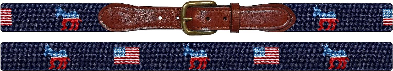 Smathers/&Branson Mens Democrat Needlepoint Belt Dark Navy