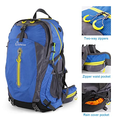 d57f671daa Image Unavailable. Image not available for. Color  Syming 50L Hiking  Backpack for Men and Women Lightweight Travel Daypack Waterproof Rain Cover  Outdoor ...