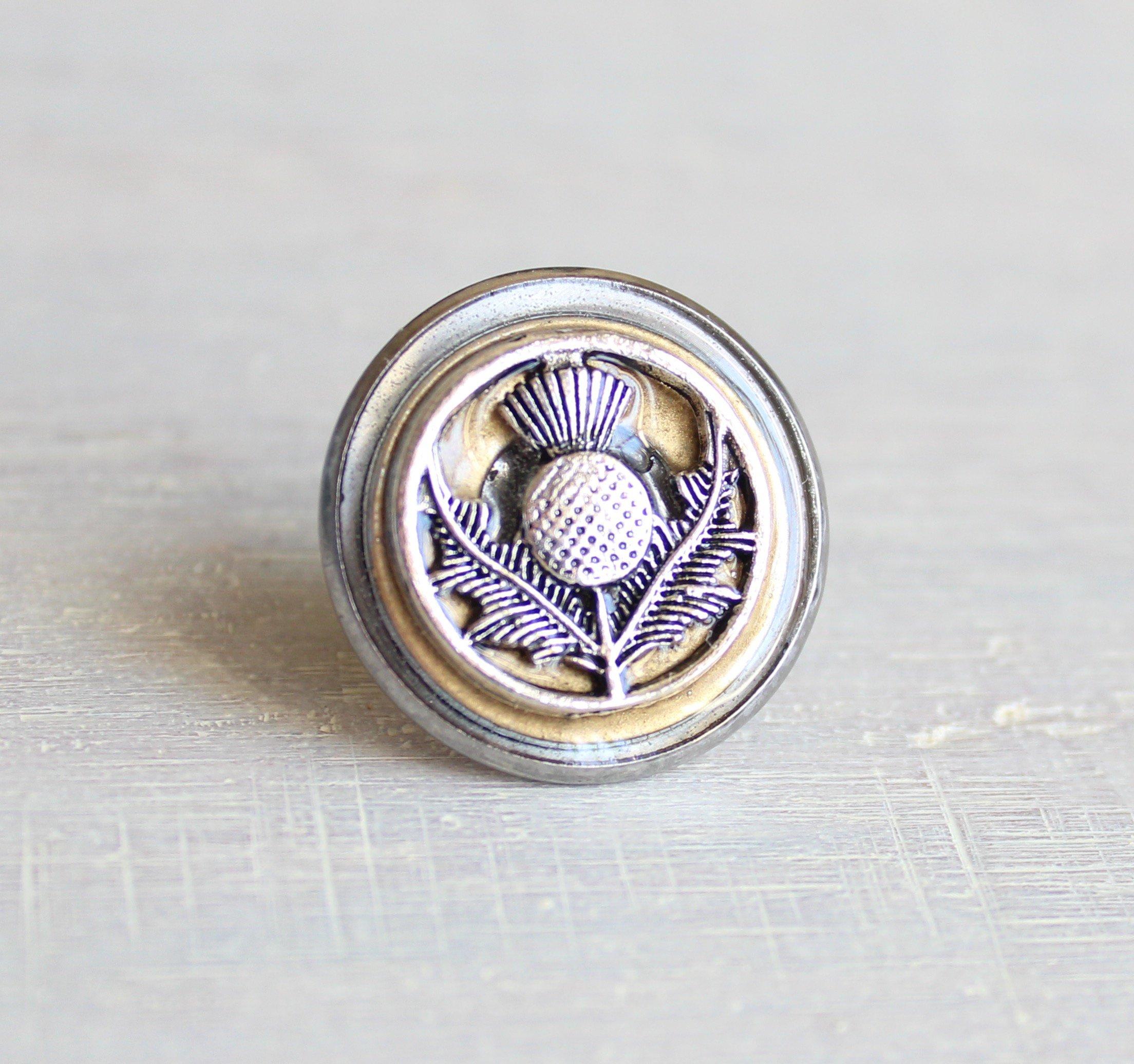 Golden Scottish thistle tie tack / lapel pin.