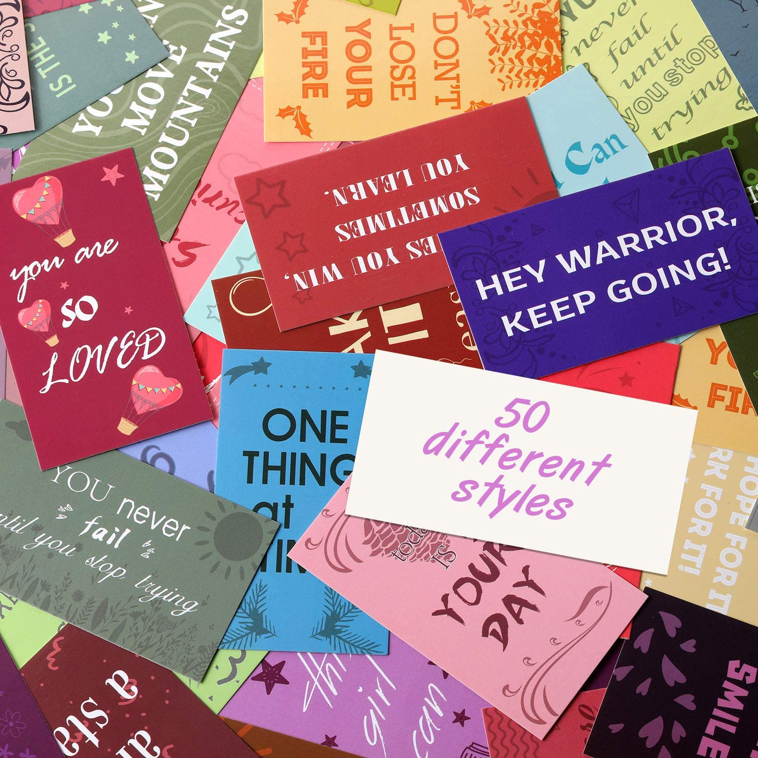 100 Pieces Motivational Quote Cards Assorted Inspirational Cards Mini Encouragement Cards Positivity Cards Business Card Size for Appreciation Gratitude