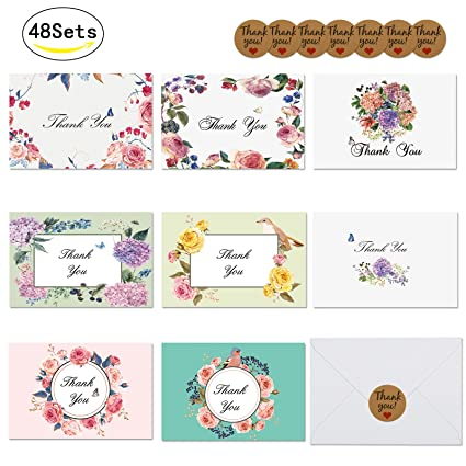 Amazon lanmok 48sets 8 designs thank you card notes floral lanmok 48sets 8 designs thank you card notes floral greeting cards blank inside for graduation baptism m4hsunfo