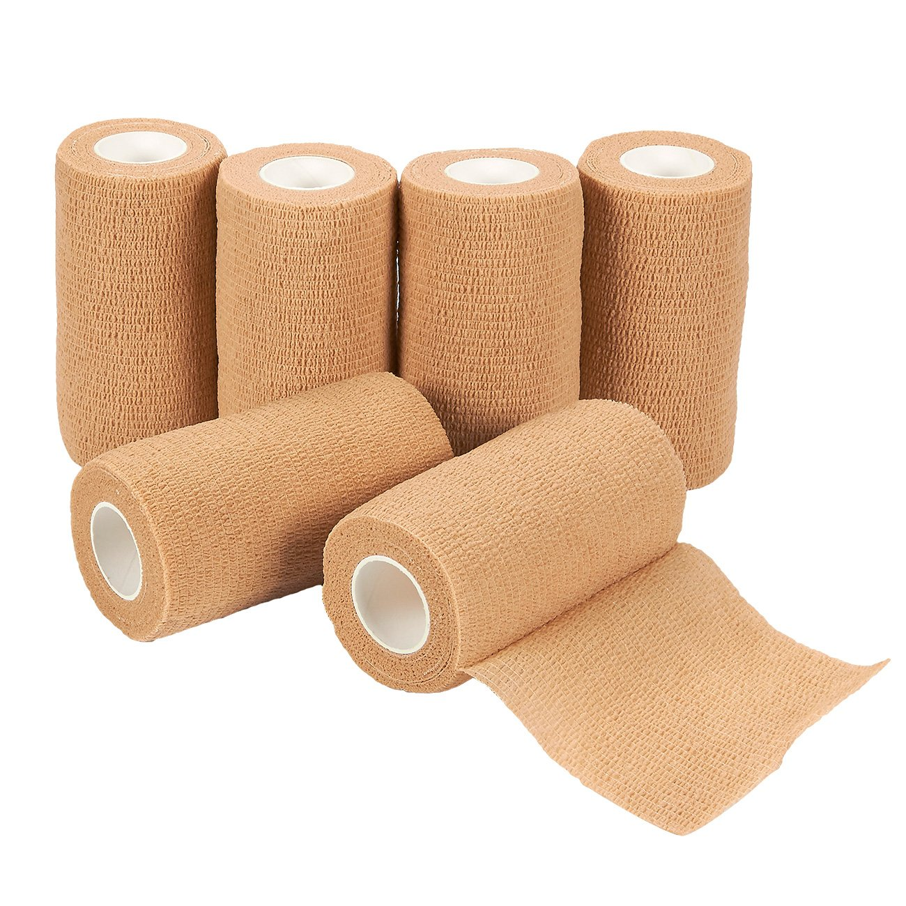Self Adherent Wrap - 6 Pack of Cohesive Bandage Medical Vet Tape in Tan for First Aid, Sports, Wrist, Ankle, 4 Inches x 5 Yards, FDA Approved