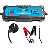 Maxxlee Smart Battery Charger 2A 5A 10A 12V 24V Automatic 9 Stages SLA Lead Wet MF AGM Gel Battery 2X Faster Charging for Cars, 4wd, Caravan Elinz