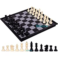 """NSXEEN Chess Board 10""""x10"""" Magnetic Chessboard Game Set with Folding Travel Portable Case Travel Chessgame Black & Ivory…"""