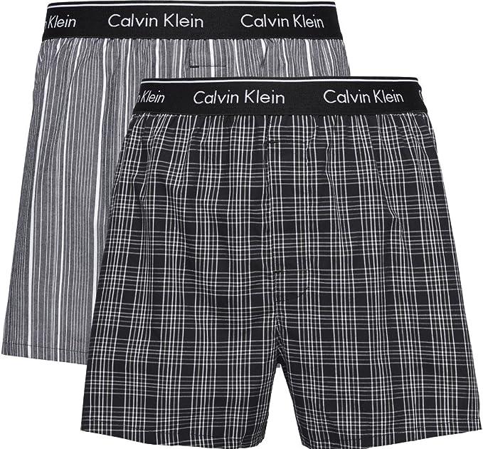 TALLA S. Calvin Klein Hombre Pack de 2 Boxeadores de Corte Slim de Talle bajo, Negro