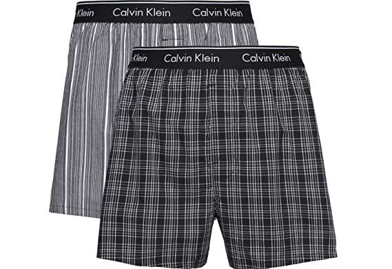 ea503a61f6 Calvin Klein Mens 'Traditional' Woven Check Boxer Shorts (2-Pack) Slim Fit:  Amazon.co.uk: Clothing