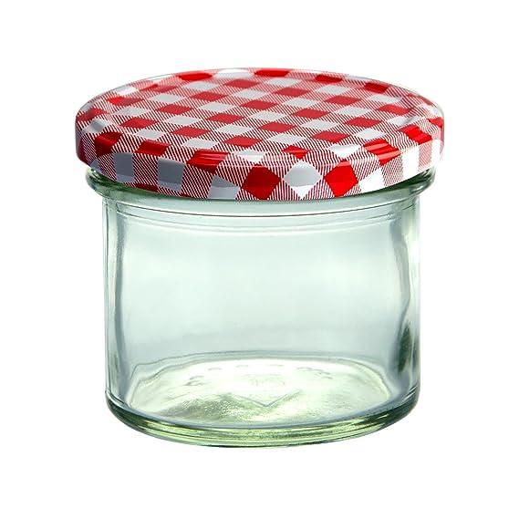 Juego de 25 tarros de mermelada, 125ml - con tapas rojas y blancas ...
