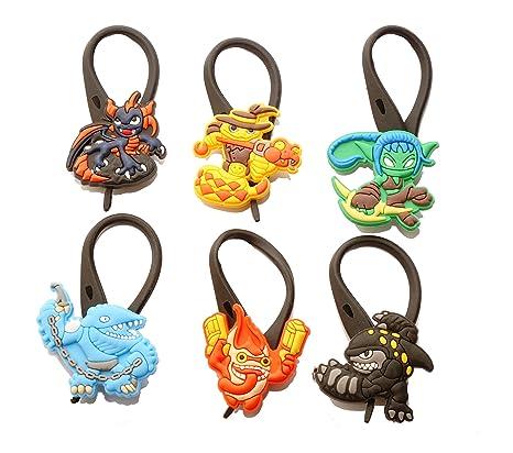 Hermes 6 piezas Skylanders Trap Team Soft Zipper Pull Cremalleras Adornos para Cazadoras Bolsas Cremalleras