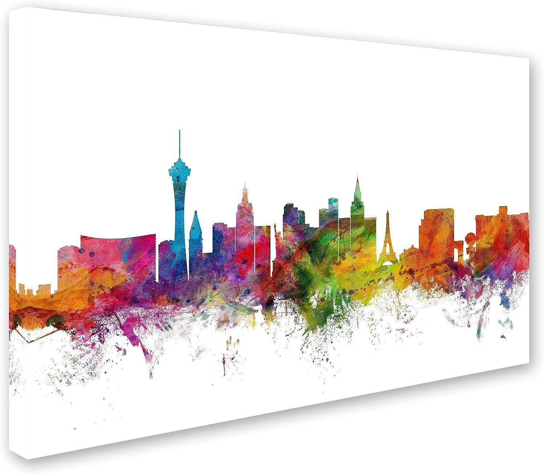 Las Vegas Nevada Skyline By Michael Tompsett 22 X 32 Canvas Wall Art Posters Prints