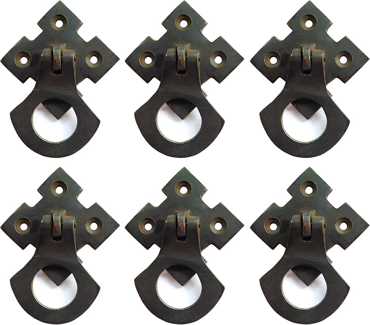 6 Pack Nesha Design Components Arts and Crafts Mission Style Ring Pulls Hardware Oil Rubbed Bronze