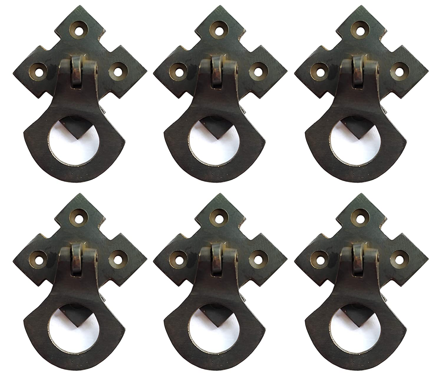 Nesha Design Components Arts and Crafts Mission Style Ring Pulls Hardware Oil Rubbed Bronze (6 Pack)