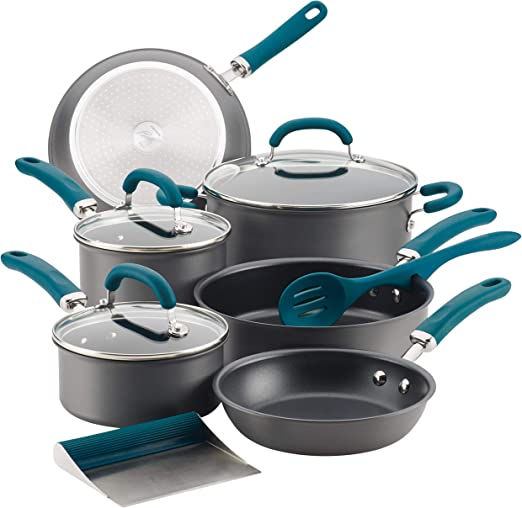 Rachael Ray Create Delicious Hard Anodized Nonstick Cookware Pots and Pans Set