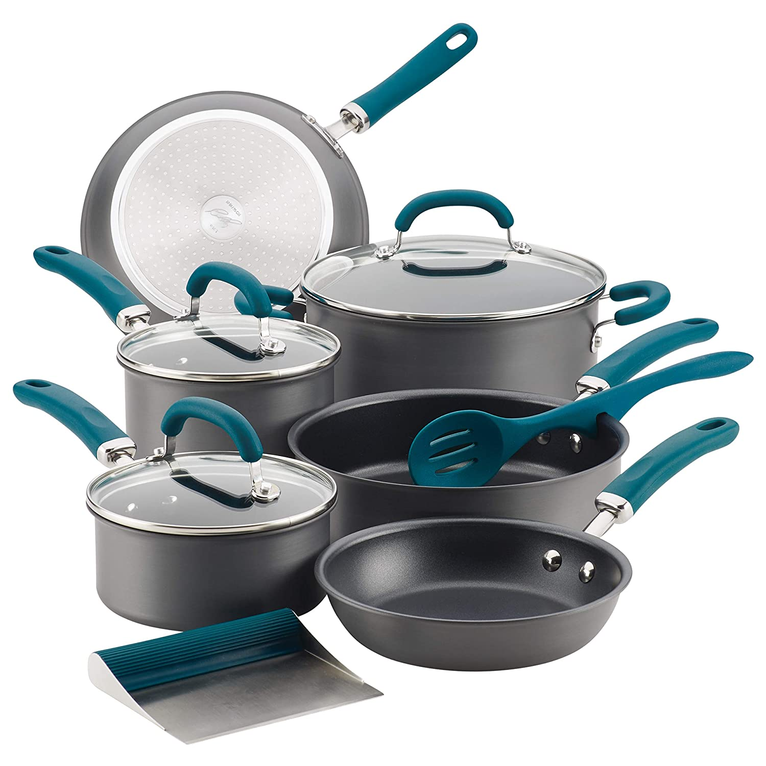 Rachael Ray 81123 11-Piece Hard Anodized Aluminum Cookware Set, Gray with Teal Handles