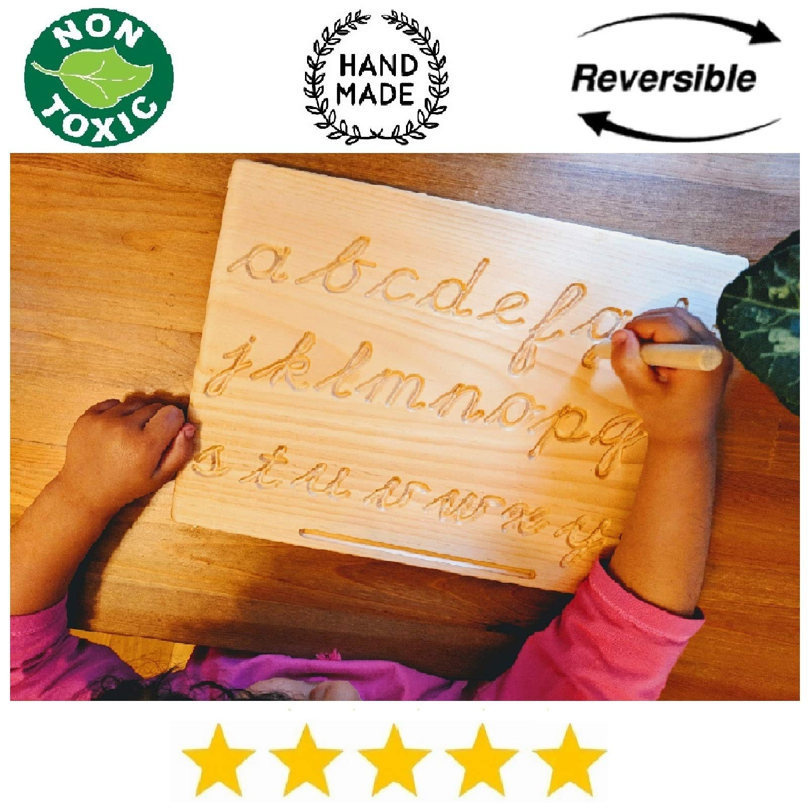 Reversible Montessori Cursive Alphabet | Lowercase+Uppercase | Cursive ABC Letters Tracing Board with Wooden Pen by Cosmo-Crafts ... (C- Reversible NO Color) by cosmo-crafts.com