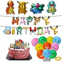 Pokémon verjaardagsdecoratieset, Pokémon kinderverjaardagsfeestdecoratie, Pikachu Pokémon luchtballon, folieballon…