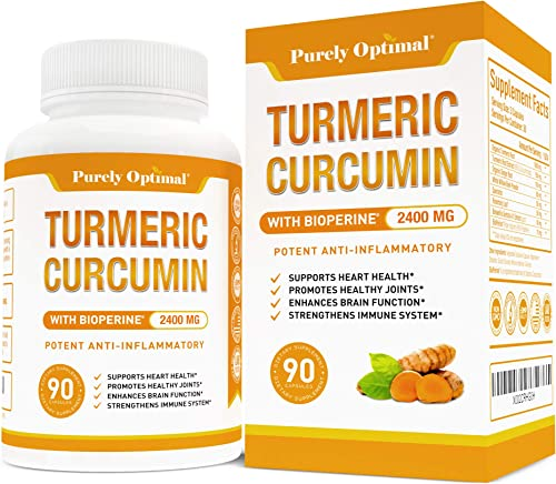 Premium Turmeric Curcumin with Bioperine 2400MG – Highest Strength Potency 95 Curcuminoids – Pain Relief Joint Support, Anti-Inflammatory – Black Pepper for Max Absorption 90 Turmeric Capsules