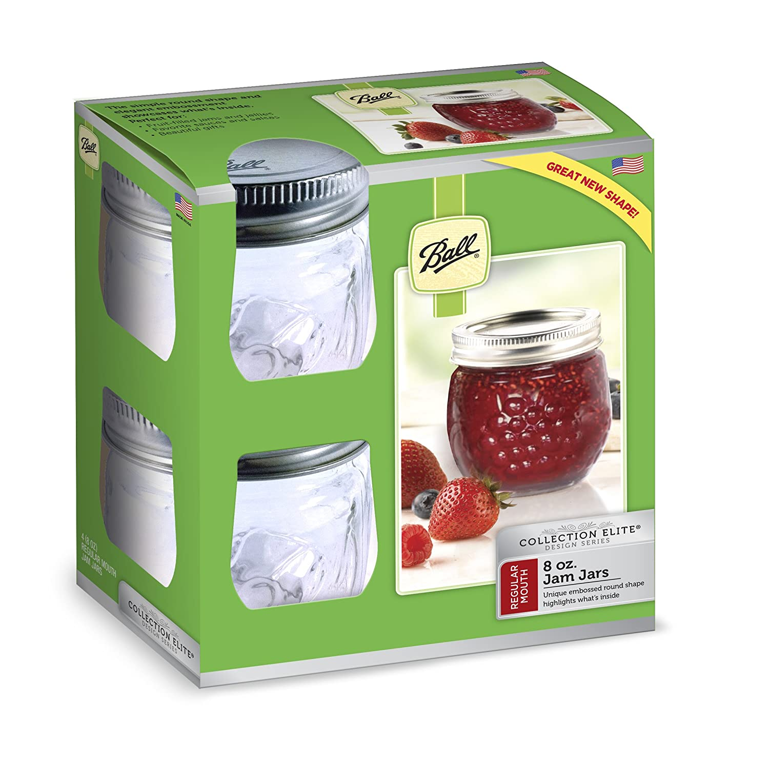 Amazon.com: Ball Jelly Elite Collection Jam Jar (4 Pack), 8 Oz, Clear:  Kitchen U0026 Dining