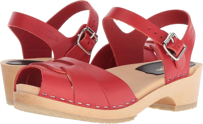 swedish hasbeens Womens Peep Toe Low Heeled Sandal
