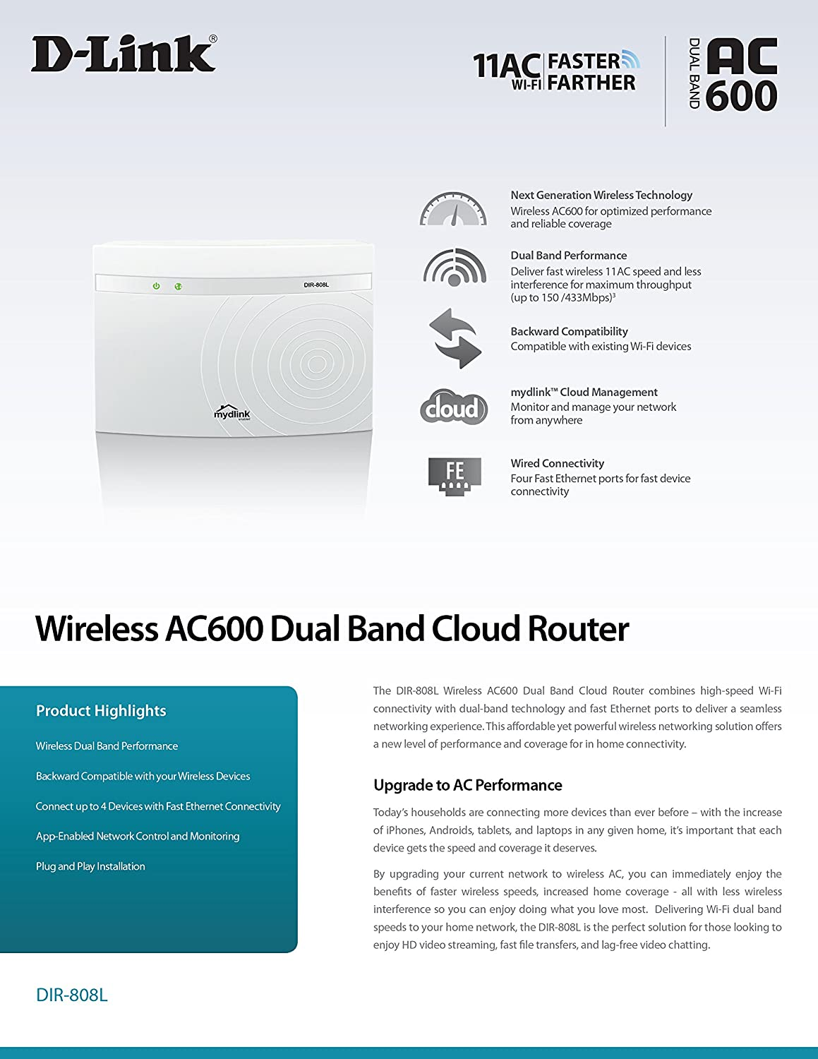 DIR-808L D-Link Wireless AC600 600 Mbps Home Cloud App-Enabled Dual-Band Broadband Router