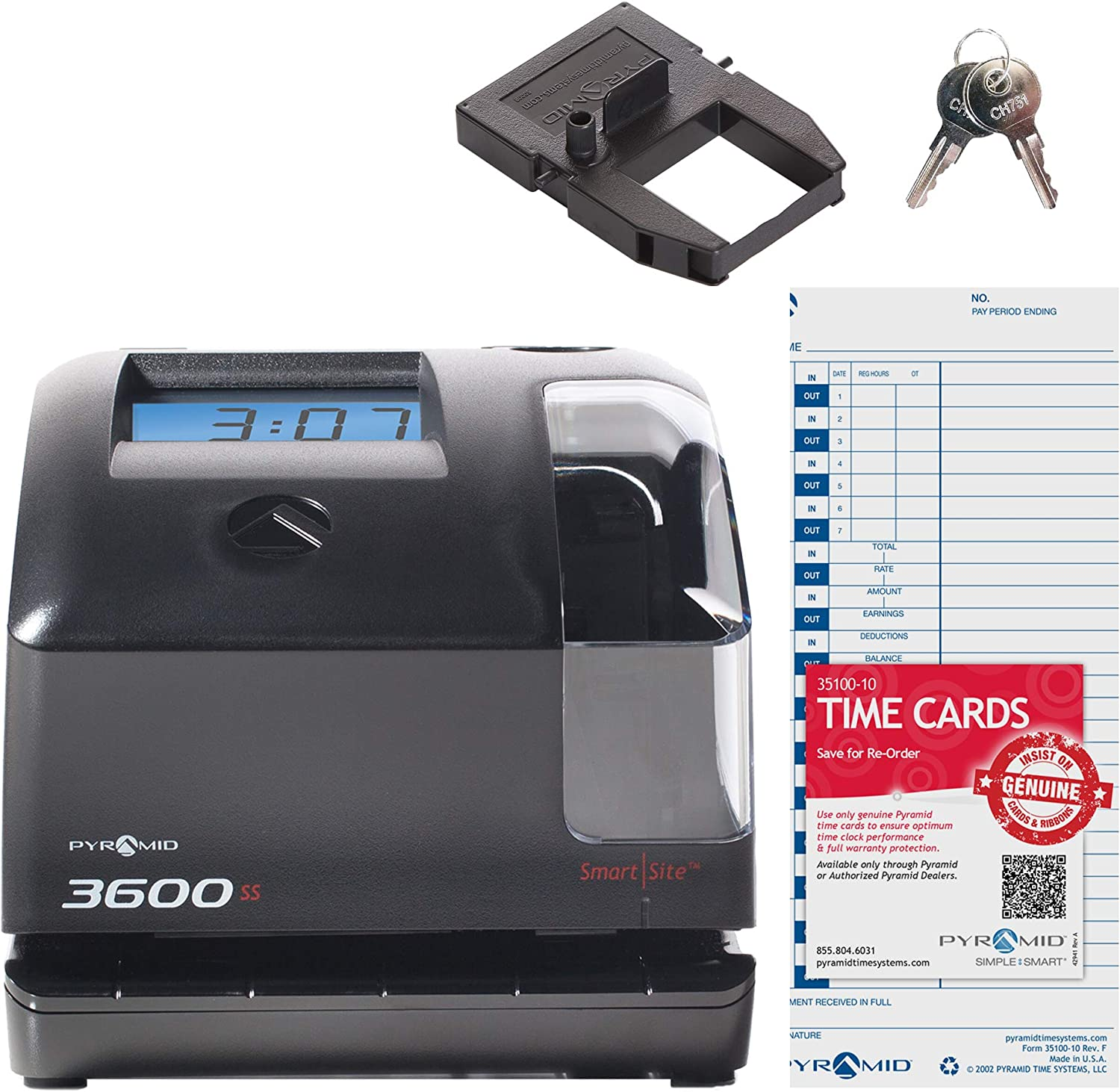 Pyramid 3600ss SmartSite Time Clock and Document Stamp - Made in USA