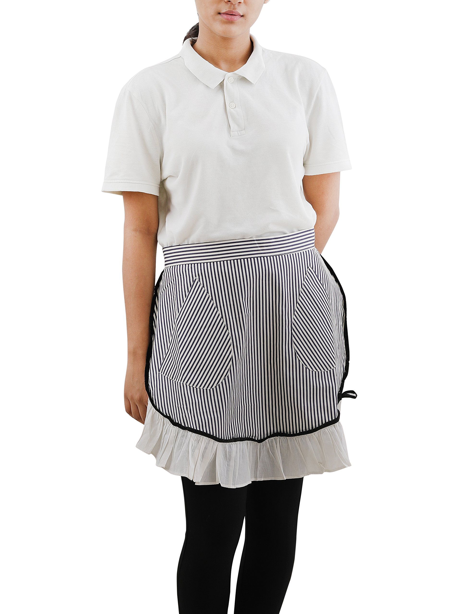 Kitchen Apron with Adjustable Bib, Design Apron with Pockets, 100% Cotton Apron for Women & Men, Half Apron in classic stripe pattern suitable for Home Restaurant Cooking BBQ Aprons