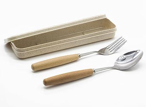Amazon.com: genubi-2pcs portátil cubiertes Tenedor Cuchara ...