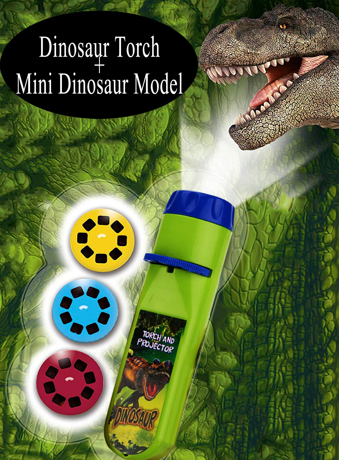 Hualedi Dinosaur Toys Set, Dinosaur Torch and Projector+[10 Pack] Mini Dinosaur Model[2.5 in], Boy toys age 4-5, science toy for 3 4 5 year old