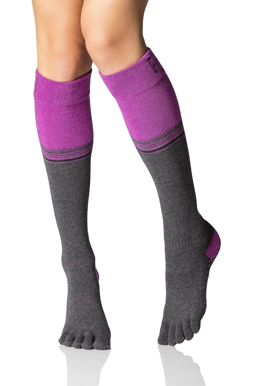 Damen 1 Paar ToeSox Scrunch Kniestrümpfe aus biologischer Baumwolle mit 5 einzelnen Zehenkammern