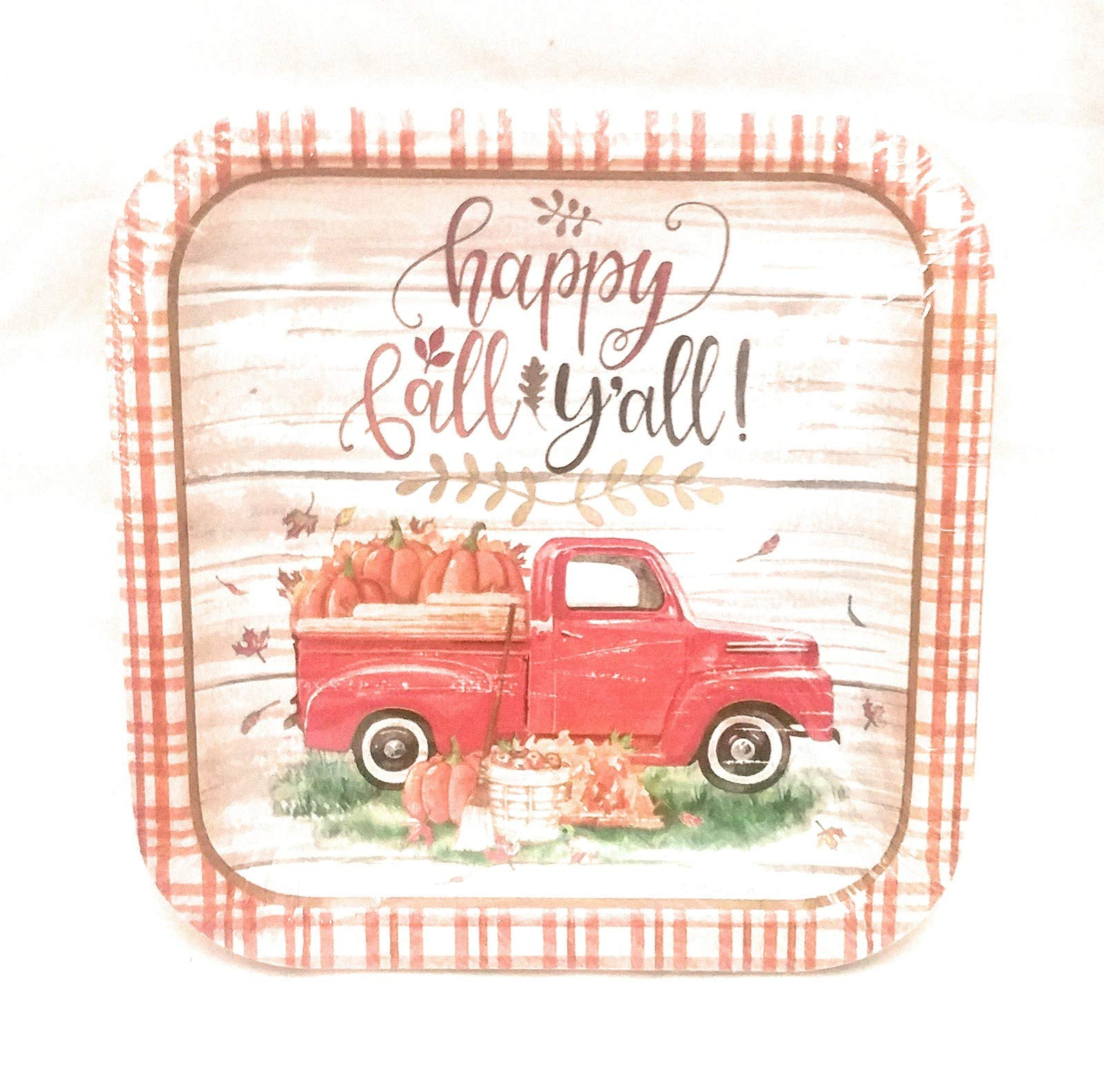 Happy Fall Y'all Red Pickup Truck Square Disposable Plates 6 7/8'' 18 pc by Hoot Nanny Blue
