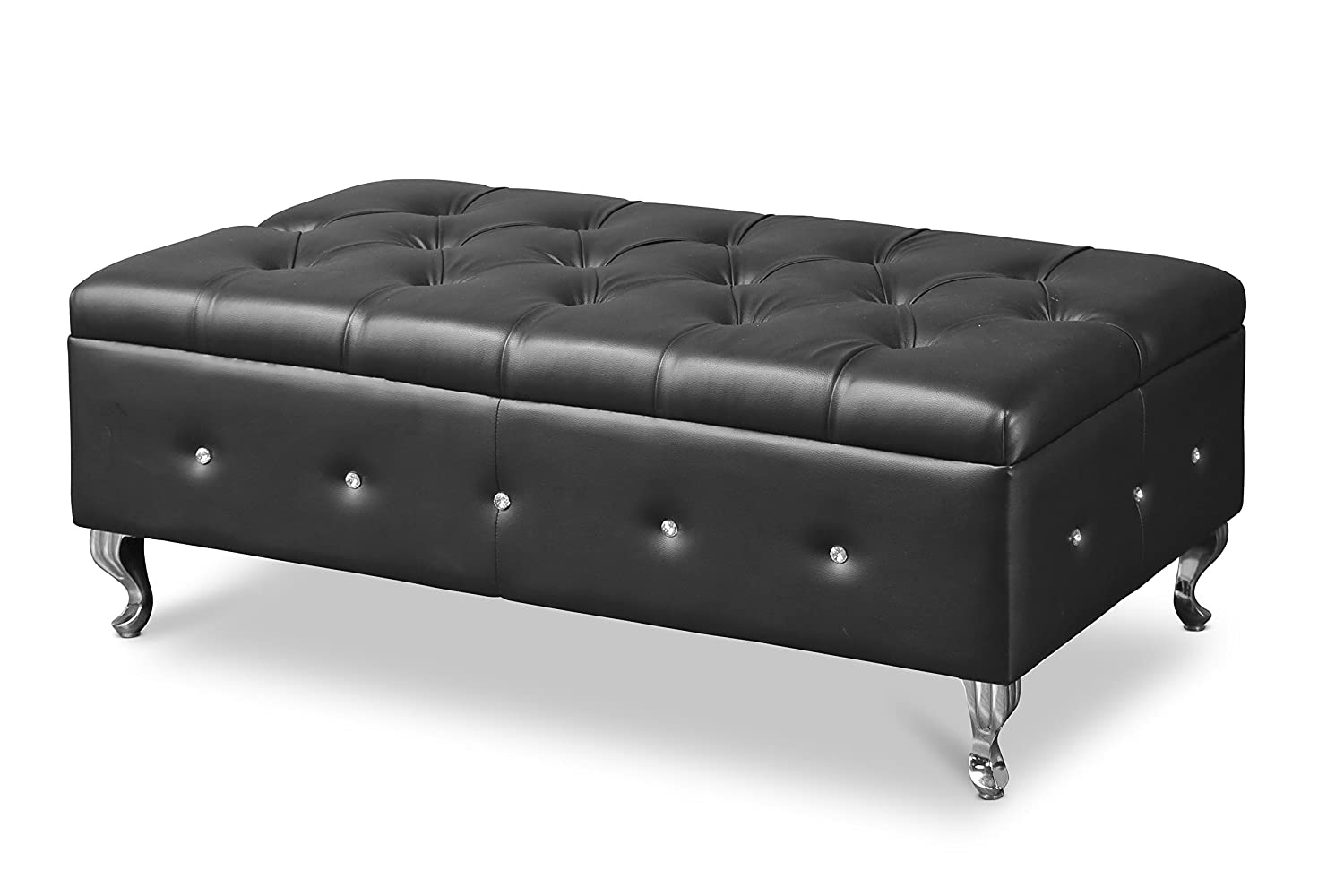 Baxton studio brighton button tufted upholstered modern bedroom bench - Amazon Com Baxton Studio Brighton Bedroom Bench Black Kitchen Dining