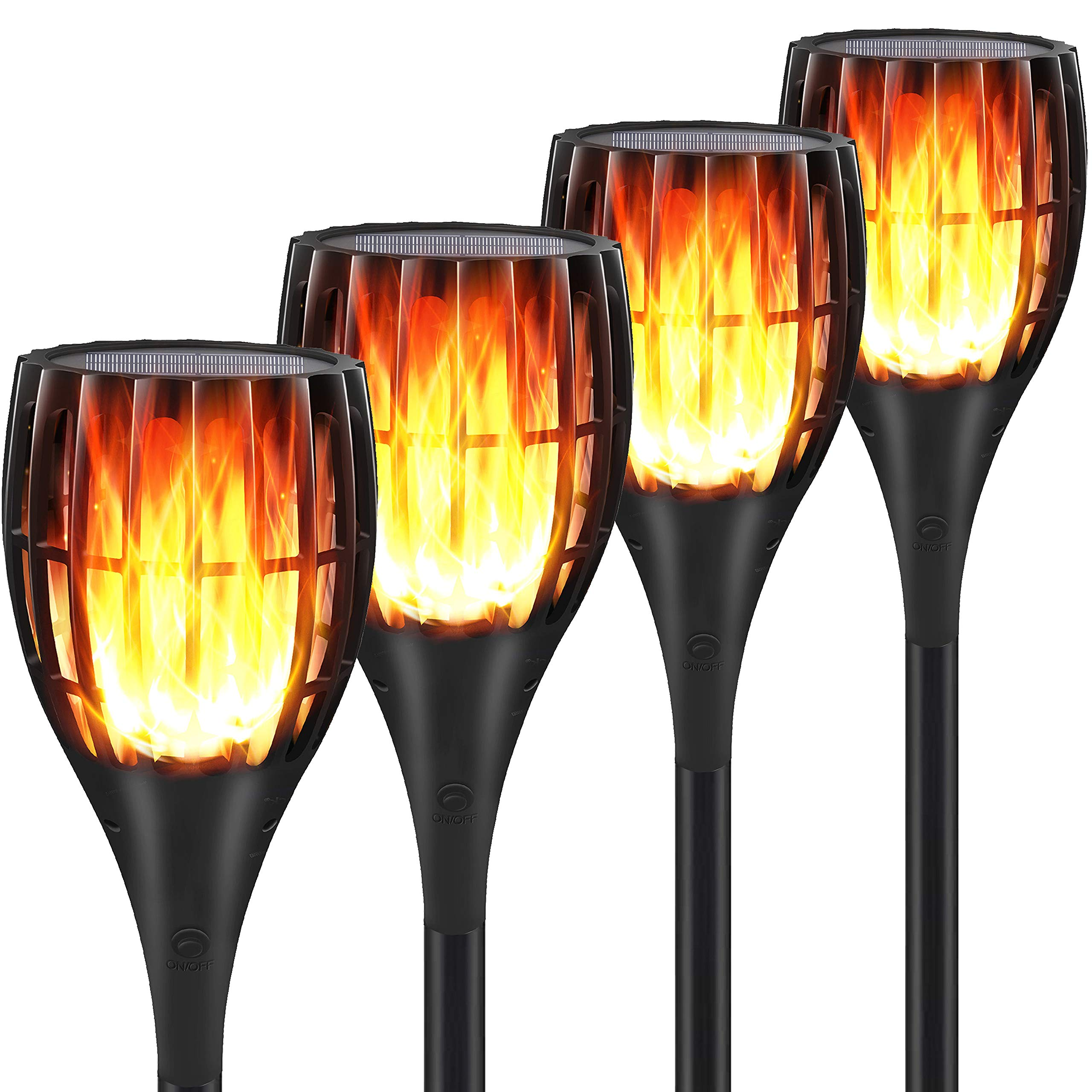 YUJENY Solar Flame Torch Lights Upgraded, Waterproof Dance Flame Lighting Solar Garden Light Outdoor Landscape Decoration Lighting Dusk to Dawn Auto On/Off (4 Pack) by YUJENY