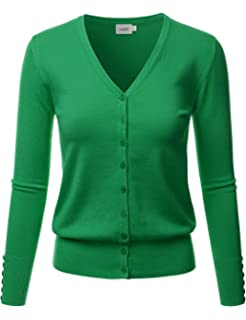 LALABEE Women s V-Neck Long Sleeve Button Down Sweater Cardigan Soft Knit 5de7a095a