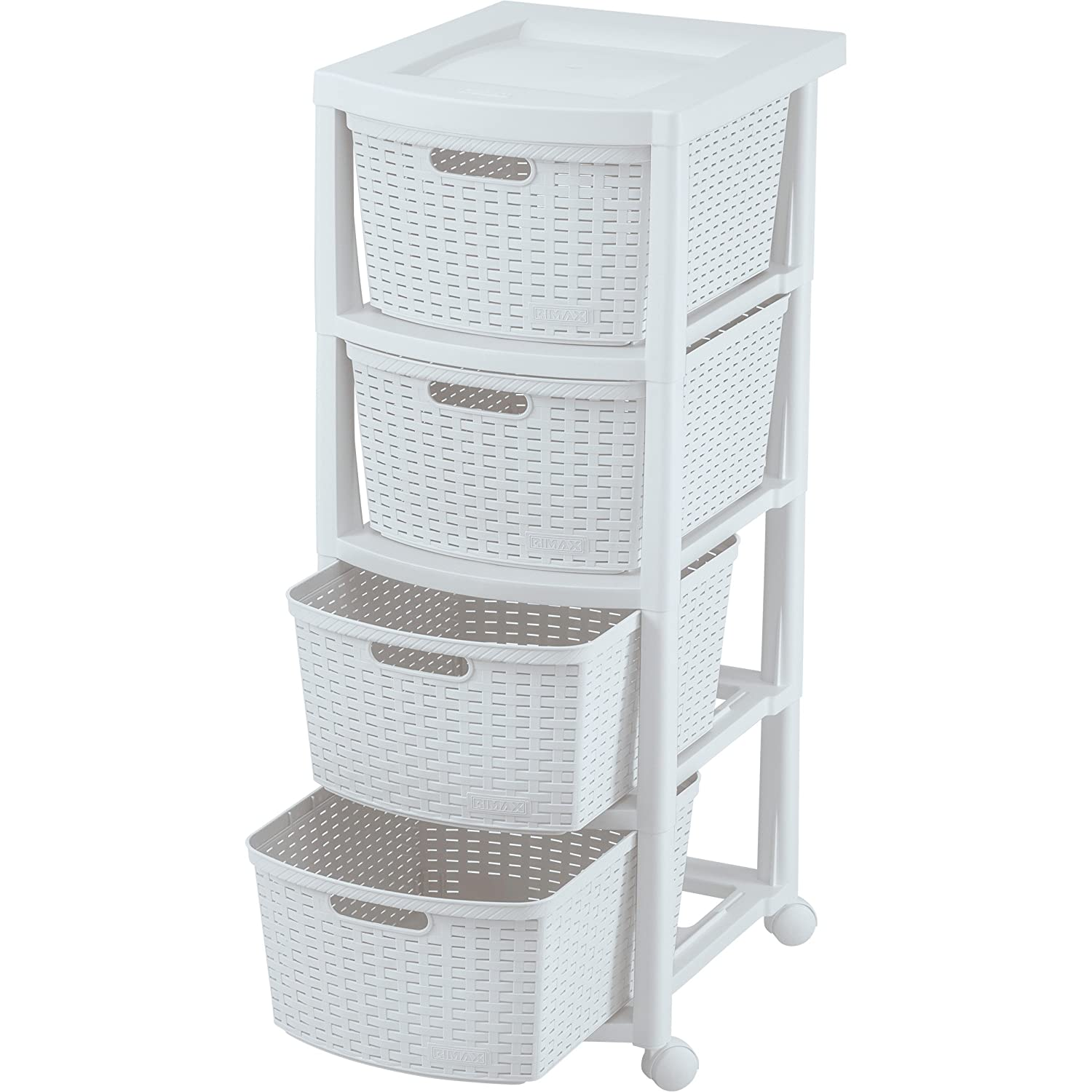 Rimax Mobile 10432 Four Drawer Rolling Cart in White