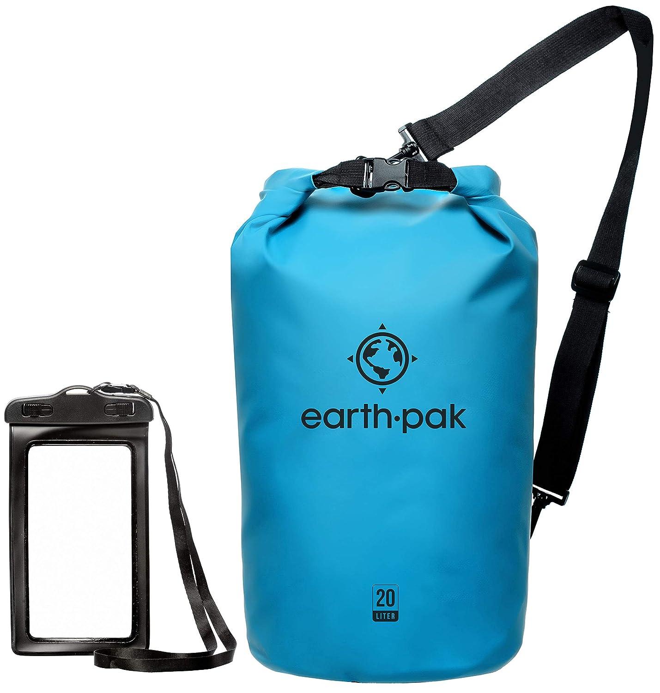 Earth Pak防水ドライバッグ ロールトップのドライ圧縮袋でギアをドライに カヤック ビーチ ラフティング ボート ハイキング キャンプ 釣りに 防水電話ケース付属 B01LXZ82W9 ライトブルー 40L 40L|ライトブルー