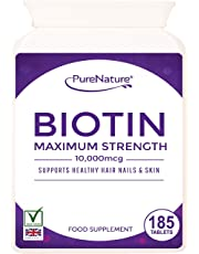 Biotin 10,000mcg - 185 Tablets - 6-Month Supply, For Healthy Hair, Nail and Skin Support.