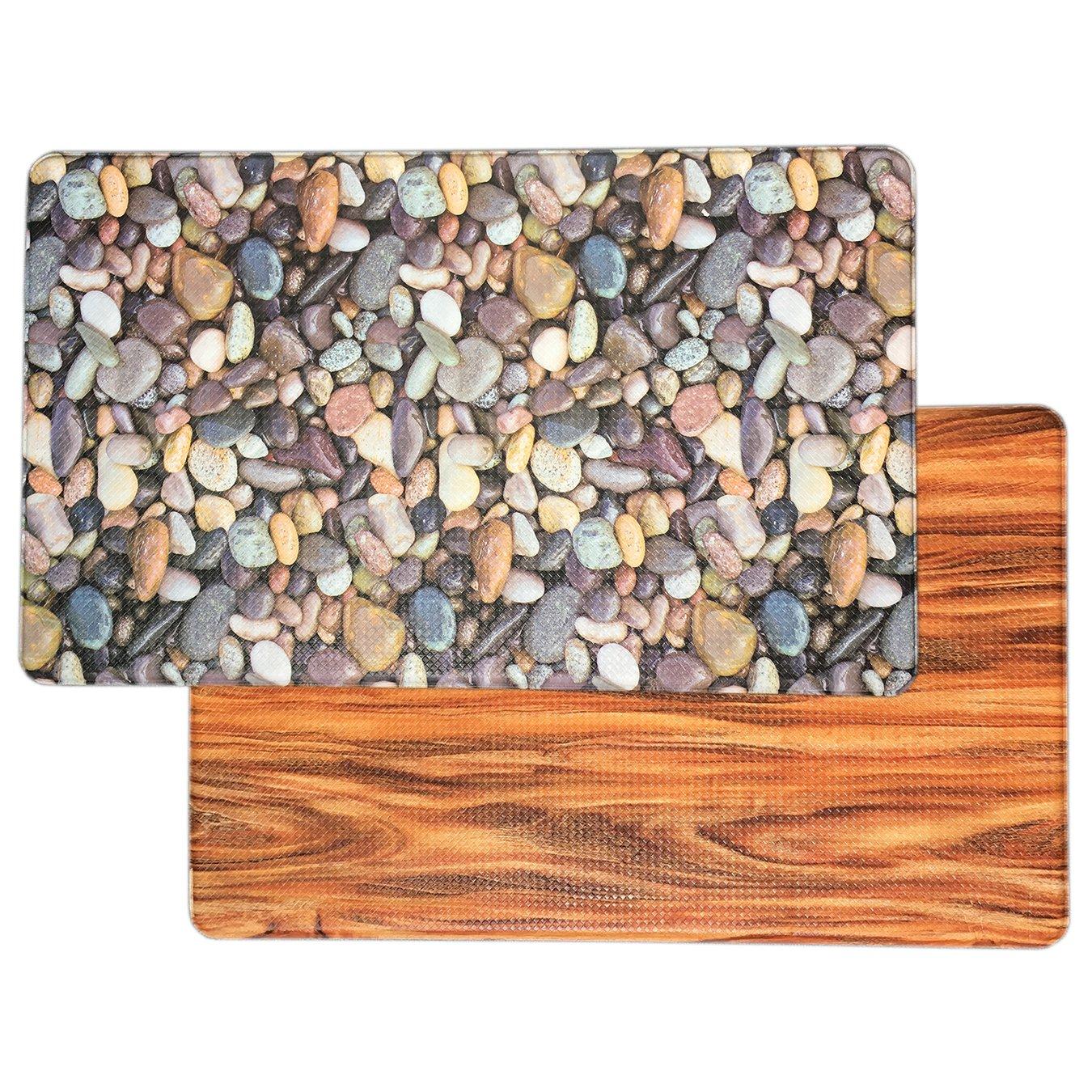 Art3d Premium Reversible Anti Fatigue Kitchen Mat Non-slip Kitchen Rug Standing Floor Mat, 18'' x 30'' Stone-wood