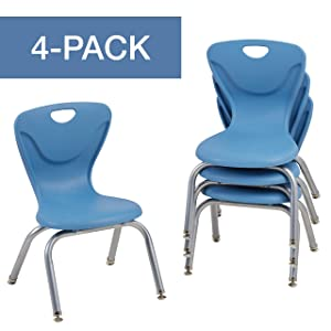 "FDP 12"" Contour School Stacking Student Chair, Ergonomic Molded Seat Shell with Chromed Steel Frame and Swivel Leg Glides; for in-Home Learning or Classroom - Powder Blue (4-Pack)"