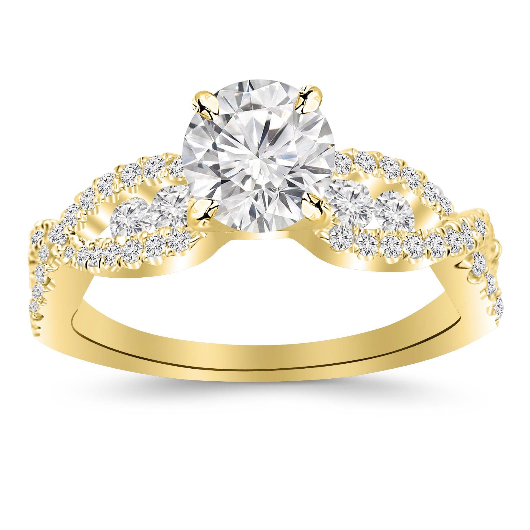 1.05 Carat Designer Twisting Eternity Channel Set Four Prong Diamond Engagement Ring 14K Yellow Gold with a 0.45 Carat I-J SI2-I1 Round Brilliant Cut/Shape Center