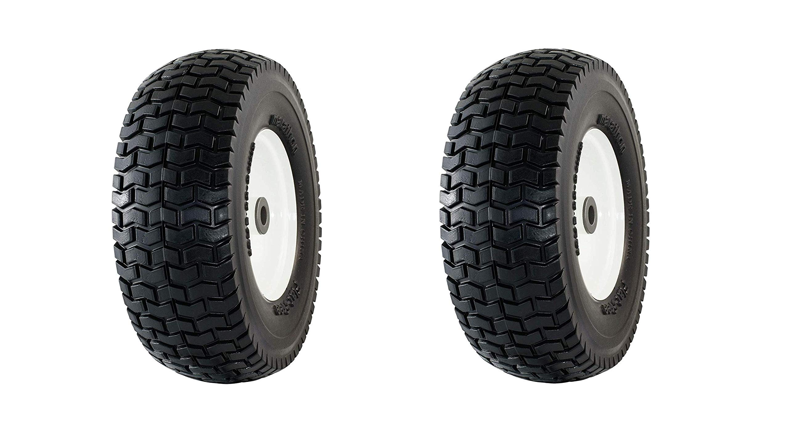 Marathon 13x5.00-6'' Flat Free Tire on Wheel, 3'' Hub, 3/4'' Bushings (Pack of 2) by Marathon Industries