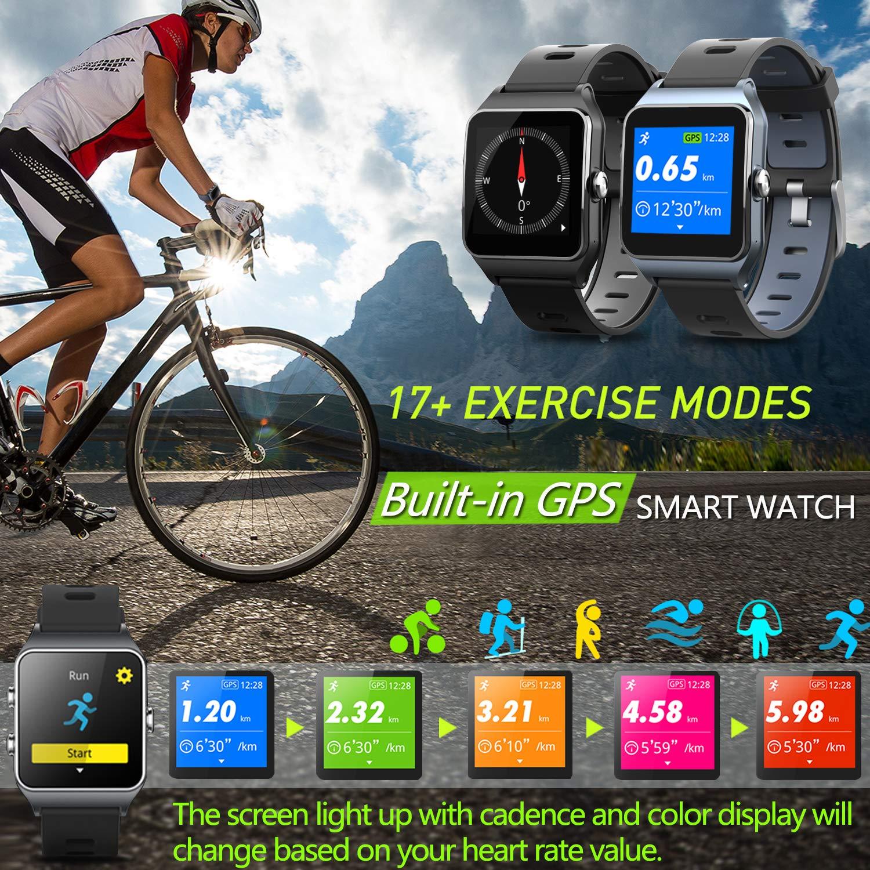 MorePro - Reloj Inteligente con GPS y 17 Modos Deportivos, 50 m, IP68, Resistente al Agua, podómetro, Monitor de sueño, recordatorio de Mensajes