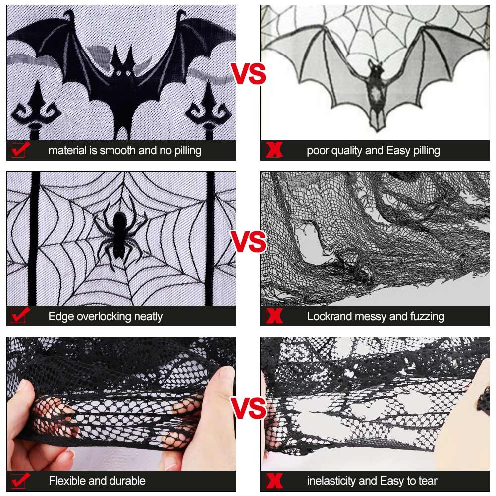 AerWo Black Bats Halloween Lace Window Curtain with 2pcs 40 by 84 inch Halloween Spooky Lace Curtain Panel for Halloween Party Window Decorations