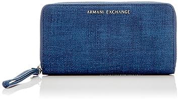 Armani Exchange - Texturized Round Zip Wristlet, Carteras Mujer, Azul (Denim),