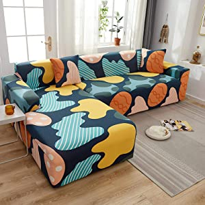 HUIJIE Sofa Slipcovers Sofa Cover,Stretch Sofa Cover All-Inclusive Abstract Colorful Couch Cover,Modern Sectional Corner Slipcover L Shape Combined Armchair Furniture Protector,2,Seater 145,185Cm